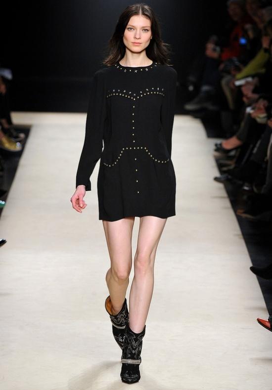 Isabel Marant Fall Winter 2012 zwarte jurk met studs
