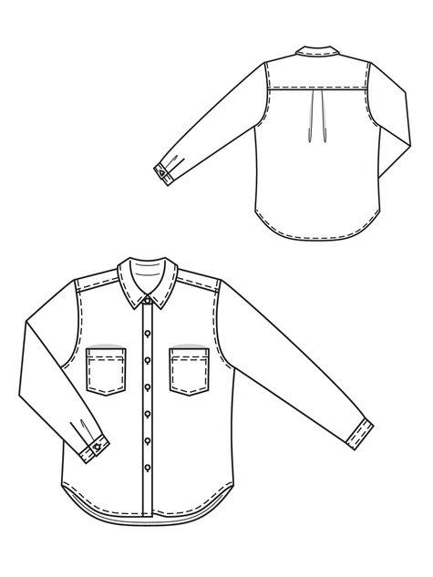 Burdastyle  #101 Chambray Boyfriend Shirt (02-2013) patroontekening