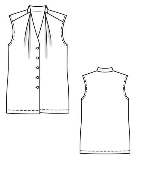 Burdastyle sleeveless blouse patroon #128 patroontekening