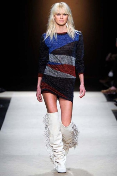 Isabel Marant Fall Winter 2011 long sleeve knit dress blue white red black frayed boots