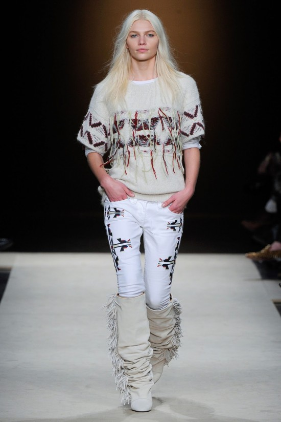 Isabel Marant Fall Winter 2011 cream coloured sweater with red frays white navajo print jeans frayed boots
