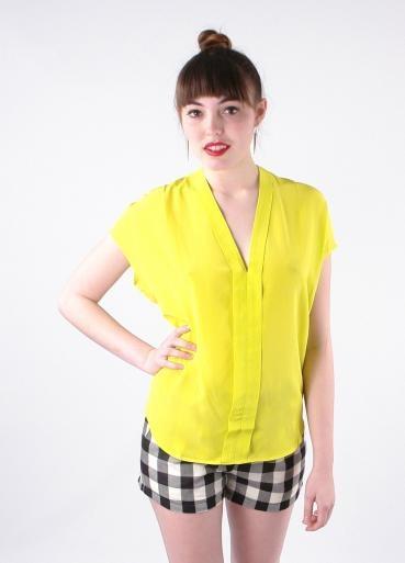 BellJar mouwloze blouse van zijde, neon geel