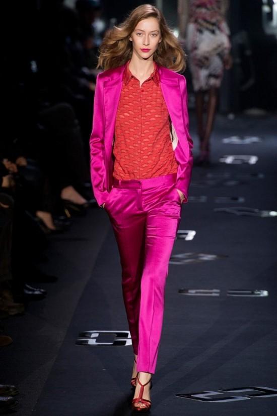 NYFW Fall 2013 Diane Von Furstenberg fuchsia silk suit