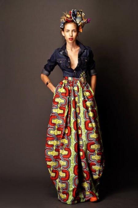 Stella Jean Spring Summer 2012 denim blouse, maxirok met rood gele afrikaanse print, hoofddoek