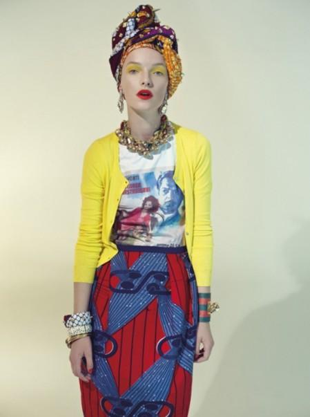 Stella Jean Spring Summer 2013 geel vestje, italiaans film t-shirt, rok met rood blauwe afrikaanse print, hoofddoek