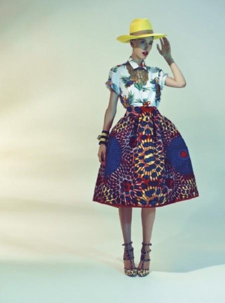 DIY Designer inspiratie Stella Jean SS12 louse met tropische print, volle rok met afrikaanse print en gele hoed