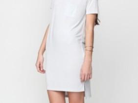 T by Alexander Wang Classic Boatneck dress - witte t-shirt jurk met korte mouwen en zakje boothals