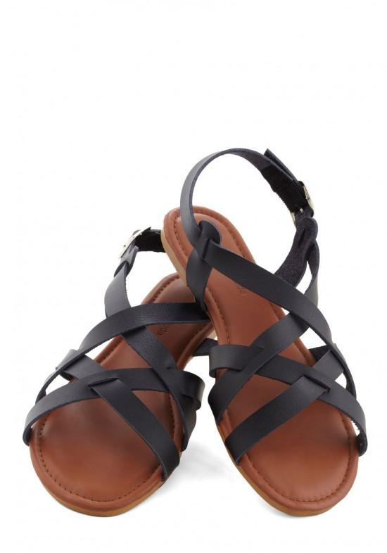 Fell For Sanibel zwart leren sandaal van ModCloth