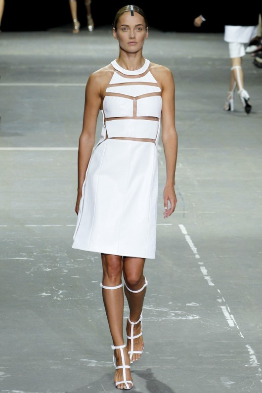Alexander Wang Spring Summer 2013 jurk wit leer vislijn