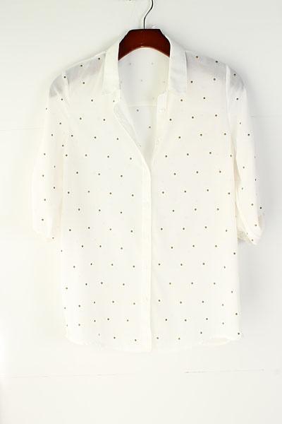 Crème chiffon blouse met goude stipjes van Emma Stine Limited