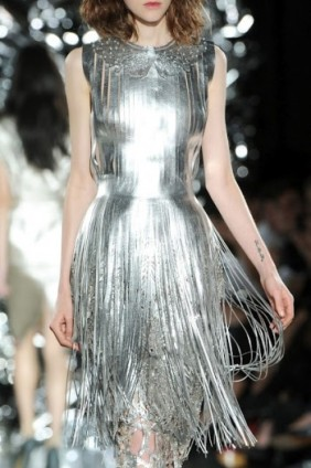 Spring Summer 2012 Giles Deacon silver fringe dress