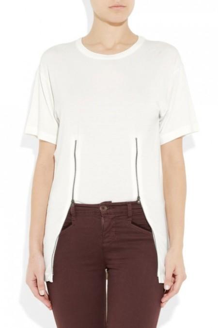MM6 Maison Martin Margiela wit t-shirt met twee ritsen