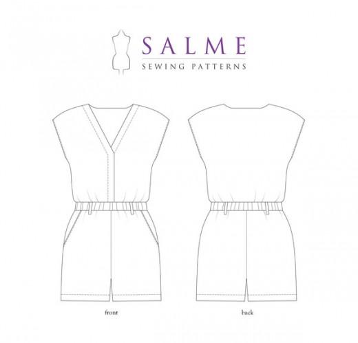Voor- en achterkant van het Salme Sewing Patterns playsuit naaipatroon