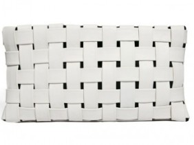 Asos Leather Contrast Weave Clutch wit
