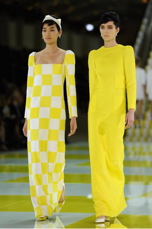 Louis Vuitton Spring/ Summer 2013 gele maxi jurk met lange mouwen