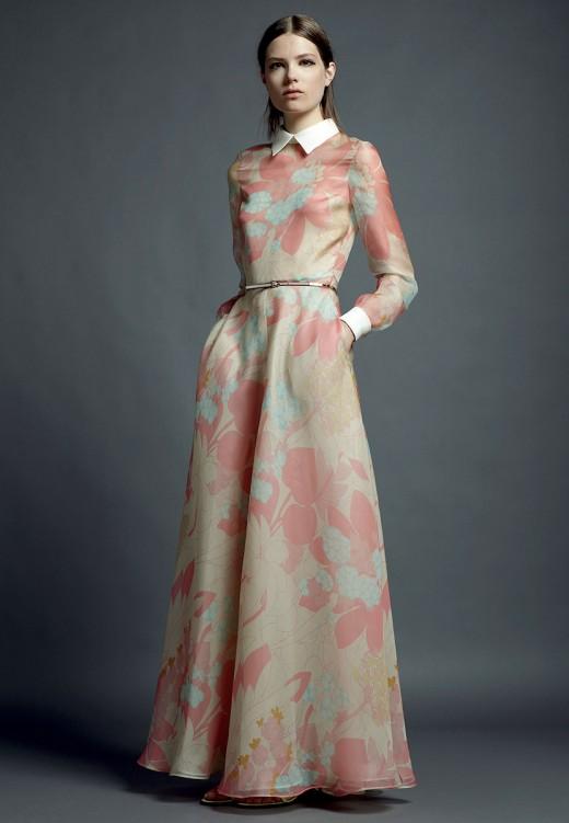 Valentino Resort 2013 lange jurk met pastel bloemenprint en witte kraag