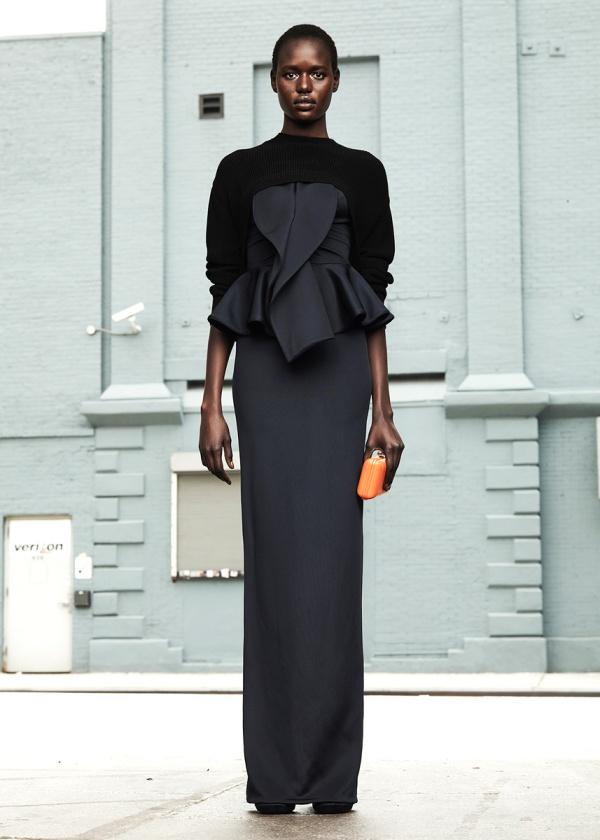 Givenchy Resort 2012 zwarte maxi jurk met volant