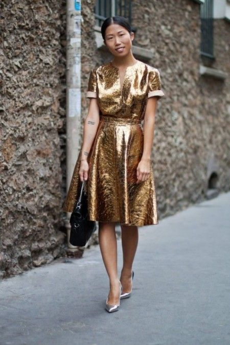 Oksana On metallic gold dress Paris Fashion week SS14