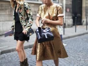 Oksana On streetstyle Paris Spring Summer 2014 Fashion Week golden dress