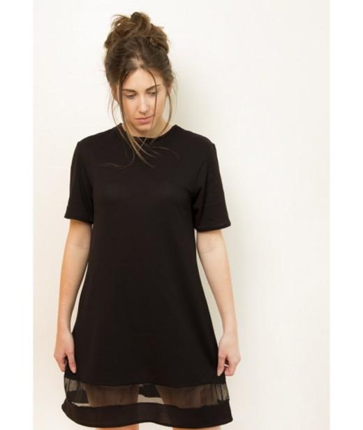 zwarte t-shirt jurk met strook organza  Helena ONeill