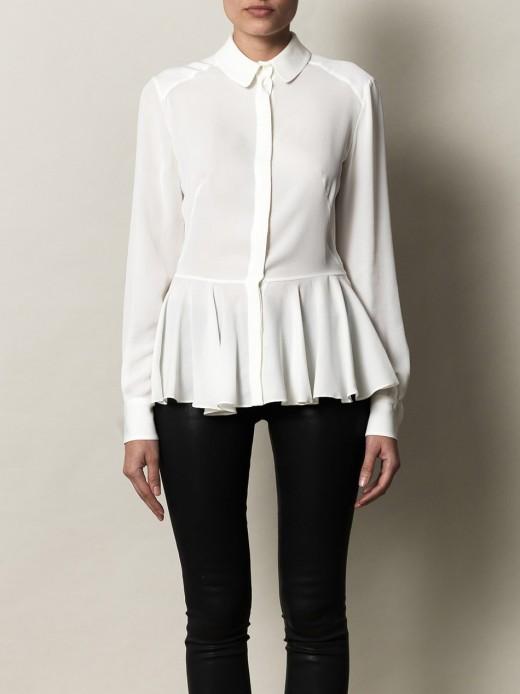 alexander mcqueen cream-peplum detail blouse