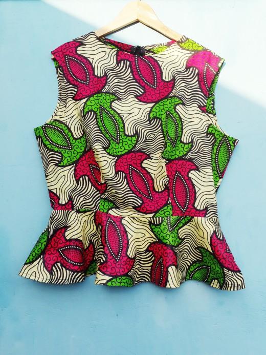Afrikaanse print peplum top DIY